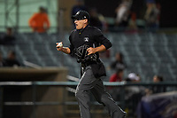 Home plate umpire Randy Wilmes during a California League game between the Visalia Rawhide and the Lancaster JetHawks at The Hangar on May 17, 2018 in Lancaster, California. Lancaster defeated Visalia 11-9. (Zachary Lucy/Four Seam Images)