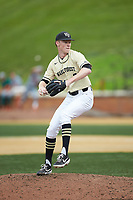 Wake Forest Demon Deacons relief pitcher William Fleming (38) in action against the Miami Hurricanes at David F. Couch Ballpark on May 11, 2019 in  Winston-Salem, North Carolina. The Hurricanes defeated the Demon Deacons 8-4. (Brian Westerholt/Four Seam Images)
