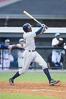 Nic Wilson (44) of the Princeton Rays connects for his second home run of the game against the Burlington Royals at Burlington Athletic Park on July 9, 2014 in Burlington, North Carolina.  The Rays defeated the Royals 3-0.  (Brian Westerholt/Four Seam Images)
