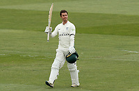Jake Libby of Worcestershire celebrates scoring a century of runs during Essex CCC vs Worcestershire CCC, LV Insurance County Championship Group 1 Cricket at The Cloudfm County Ground on 10th April 2021