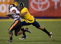 Sean Cattouse of California tackles James Rodgers of Oregon State during the game at AT&T Park in San Francisco, California on November 12th, 2011.   California defeated Oregon State, 23-6.