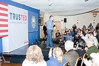 Texas senator and Republican presidential candidate Ted Cruz speaks at a town hall at The Alpine Grove banquet center in Hollis, New Hampshire.
