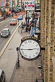 Clock on the front of Camden Lock Market Hall, London.