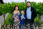 Oliver Diggins from Scoil Eoin NS receiving his First Holy Communion in St Brendans Church on Saturday with his parents Brenda and Donal Diggins.