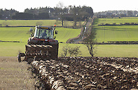 Stephen Robson ploughing a 25 acres field of heavy land at Mount Pleasant Farm, Crookham, Cornhill-on-Tweed, Northumberland. The field will be sown with spring barley by R. Rutherford and Son of Tower Martin Farm, Wooler, Northumberland.