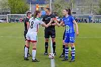 assistant referee Ella De Vries , Lenie Onzia (8) of OHL , referee Florian Stove , Silke Vanwynsberghe (21) of AA Gent pictured before a female soccer game between AA Gent Ladies and Oud Heverlee Leuven on the fourth matchday of play off 1 in the 2020 - 2021 season of Belgian Scooore Womens Super League , saturday 1 st of May 2021  in Oostakker , Belgium . PHOTO SPORTPIX.BE | SPP | STIJN AUDOOREN
