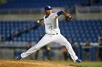 Dunedin Blue Jays pitcher Alberto Tirado (46) delivers a pitch during a game against the Clearwater Threshers on April 10, 2015 at Florida Auto Exchange Stadium in Dunedin, Florida.  Clearwater defeated Dunedin 2-0.  (Mike Janes/Four Seam Images)