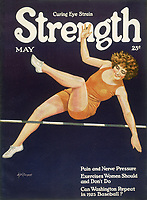 Female high jumper     Date: 1925     Source: W N Clement Cover for 'Strength' May 1925.