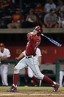 Tyler McDowell (22) of the Washington State Cougars bats during a game against the Southern California Trojans at Dedeaux Field on March 13, 2015 in Los Angeles, California. Southern California defeated Washington State, 10-3. (Larry Goren/Four Seam Images)