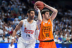 Real Madrid's player Gustavo Ayon and Valencia Basket's Guillem Vives during the first match of the Semi Finals of Liga Endesa Playoff at Barclaycard Center in Madrid. June 02. 2016. (ALTERPHOTOS/Borja B.Hojas)