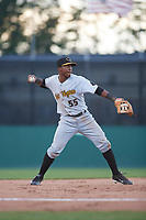 West Virginia Black Bears third baseman Raul Siri (55) throws to first base during a game against the Batavia Muckdogs on June 24, 2017 at Dwyer Stadium in Batavia, New York.  The game was suspended in the bottom of the third inning and completed on June 25th with West Virginia defeating Batavia 6-4.  (Mike Janes/Four Seam Images)