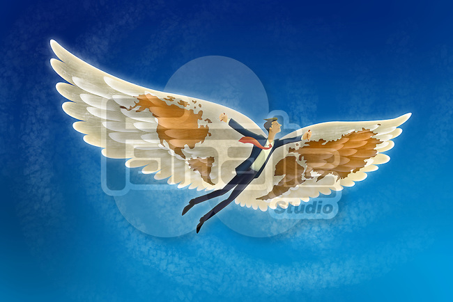 Illustrative image of businessman flying in sky representing freedom