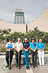 Patrick Reed of USA, Ian Poulter and Danny Willett of England , Liang wenchong of China and Humphrey Wong of Hong Kong pose for media at the Cultural Centre Kowloon against the city' skyline ahead the 58th UBS Hong Kong Open as part of the European Tour on 6 December 2016, in Hong Kong, China. Photo by Marcio Rodrigo Machado / Power Sport Images