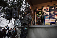 (a disappointed) Sven Nys (BEL/Crelan-AAdrinks) manages to finish 2nd in his very last home race and is welcomed very loudly onto the finish podium<br /> <br /> GP Sven Nys 2016