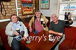 Enjoying an indoor pint in Linnane's bar on Monday, l to r: Danny O'Sullivan, Con Barrett and Kieran Horgan.