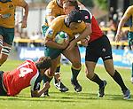 No way through for Australia's Tetera Faulkner. Australia U20 V Canada U20. Junior Rugby World Cup 2008 © Ian Cook IJC Photography iancook@ijcphotography.co.uk www.ijcphotography.co.uk..