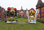 Pictured: Marmite and Méribel, the Xmas marmots on display at the top of Alton High Street.<br /> <br /> A council which infuriated residents of an affluent market town by replacing the traditional Christmas tree with a giant skiing marmot is set to provoke fury again - by installing TWO of them this year.<br /> <br /> The most controversial festive illumination of 2019 is poised to cause double trouble this time as the two 16 foot models are lit up by thousands of LEDs.<br /> <br /> Last December the installation of a single 'embarrassing' marmot in Alton, Hants sparked arguments, with many locals angry at the council's decision.  SEE OUR COPY FOR FULL DETAILS.<br /> <br /> © Ewan Galvin/Solent News & Photo Agency<br /> UK +44 (0) 2380 458800