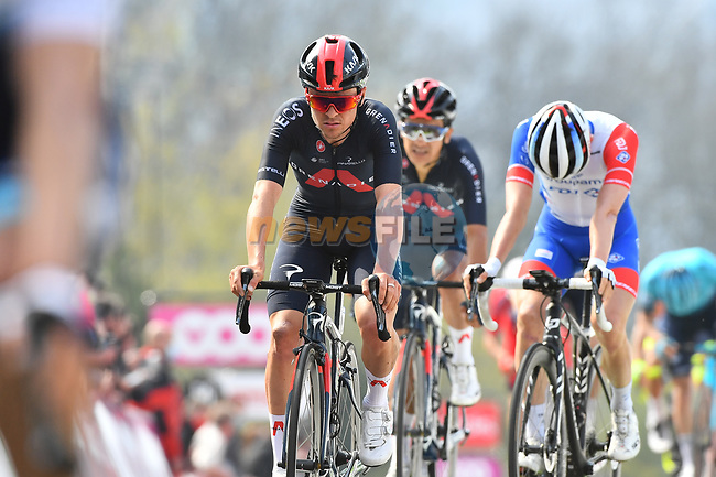 Thomas Pidcock (GBR) Ineos Grenadiers crosses the finish line at the end of the 2021 Flèche-Wallonne, running 193.6km from Charleroi to Huy, Belgium. 21st April 221.  <br /> Picture: Serge Waldbillig | Cyclefile<br /> <br /> All photos usage must carry mandatory copyright credit (© Cyclefile | Serge Waldbillig)