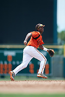 GCL Orioles shortstop Carlos Baez (1) ranges to his left during a game against the GCL Rays on July 21, 2017 at Ed Smith Stadium in Sarasota, Florida.  GCL Orioles defeated the GCL Rays 9-0.  (Mike Janes/Four Seam Images)