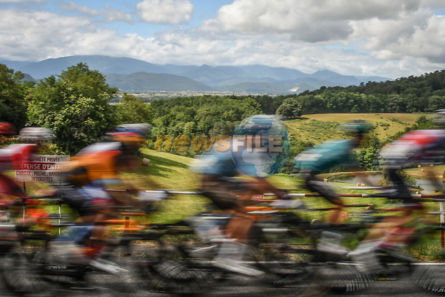 The peloton speeds by during Stage 3 of the Route d'Occitanie 2020, running 163.5km from Saint-Gaudens to Col de Beyrède, France. 3rd August 2020. <br /> Picture: Colin Flockton | Cyclefile<br /> <br /> All photos usage must carry mandatory copyright credit (© Cyclefile | Colin Flockton)
