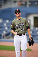 Nashville Sounds pitcher Tucker Healy (23) before a game against the New Orleans Baby Cakes on April 30, 2017 at First Tennessee Park in Nashville, Tennessee.  The game was postponed due to inclement weather in the fourth inning.  (Mike Janes/Four Seam Images)