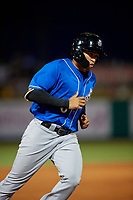 Biloxi Shuckers Trent Grisham (6) rounds the bases after hitting a home run during a Southern League game against the Pensacola Blue Wahoos on May 3, 2019 at Admiral Fetterman Field in Pensacola, Florida.  Pensacola defeated Biloxi 10-8.  (Mike Janes/Four Seam Images)