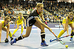 Berlin, Germany, February 09: During the FIH Indoor Hockey World Cup Pool B group match between Germany (black) and Australia (yellow) on February 9, 2018 at Max-Schmeling-Halle in Berlin, Germany. Final score 2-2. (Photo by Dirk Markgraf / www.265-images.com) *** Local caption *** Anne SCHROEDER #8 of Germany