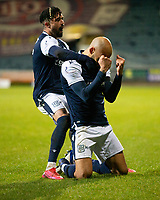 29th December 2020; Dens Park, Dundee, Scotland; Scottish Championship Football, Dundee FC versus Alloa Athletic; Liam Fontaine of Dundee is congratulated after scoring for 2-1 by Declan McDaid