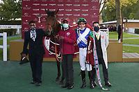 4th October 2020, Longchamp Racecourse, Paris, France; Qatar Prix de l Arc de Triomphe;  One Master - Pierre Charles Boudot - Herve Naggar