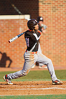 Brandon Howard (11) of the Bowling Green Falcons follows through on his swing against the High Point Panthers at Willard Stadium on March 9, 2014 in High Point, North Carolina.  The Falcons defeated the Panthers 7-4.  (Brian Westerholt/Four Seam Images)