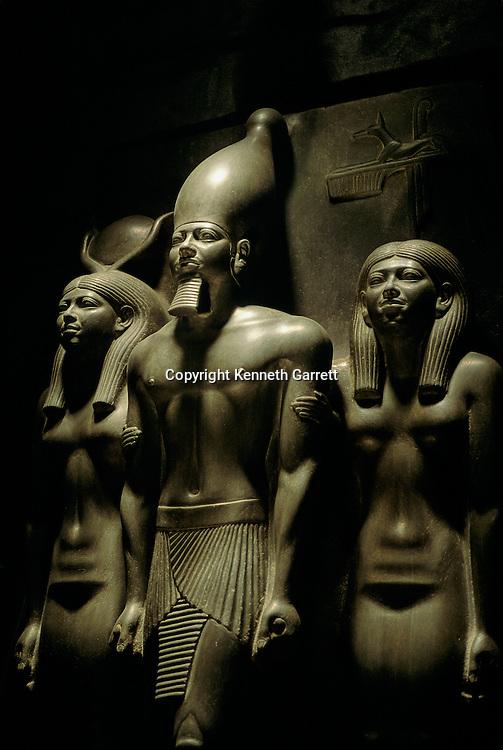 Egypt's Old Kingdom; Menkaura Triad, Pharaoh Menkaure with two Godesses, Egyptian Museum, Cairo,  Egypt
