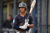 New York Yankees Dom Thompson-Williams (13) on deck during a Florida Instructional League game against the Pittsburgh Pirates on September 25, 2018 at Yankee Complex in Tampa, Florida.  (Mike Janes/Four Seam Images)