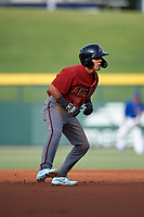 AZL D-backs Leodany Perez (4) leads off second base during an Arizona League game against the AZL Cubs 1 on July 25, 2019 at Sloan Park in Mesa, Arizona. The AZL D-backs defeated the AZL Cubs 1 3-2. (Zachary Lucy/Four Seam Images)