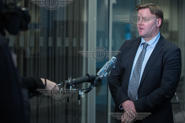 Espen Rostrup Nakstad, the assistant director of Norway's Directorate of Health talking to reporters. <br />