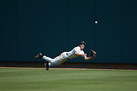 Army Black Knights center fielder Jacob Hurtubise (39) makes a diving attempt to catch a fly ball during the game against the North Carolina State Wolfpack at Doak Field at Dail Park on June 3, 2018 in Raleigh, North Carolina. The Wolfpack defeated the Black Knights 11-1. (Brian Westerholt/Four Seam Images)