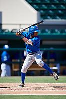 Toronto Blue Jays Leonardo Jimenez (52) at bat during an Instructional League game against the Detroit Tigers on October 12, 2017 at Joker Marchant Stadium in Lakeland, Florida.  (Mike Janes/Four Seam Images)