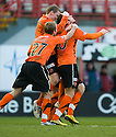::  DUNDEE UTD'S ANDIS SHALA CELEBRATES AFTER HE SCORES THE EQUALISER ::