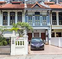 Singapore.  Emerald Hill Road Early Twentieth Century Chinese Houses.