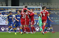 second goal scored for Accrington Stanley by Matt Butcher of Accrington Stanley as he celebrates with his teammates during AFC Wimbledon vs Accrington Stanley, Sky Bet EFL League 1 Football at The Kiyan Prince Foundation Stadium on 3rd October 2020