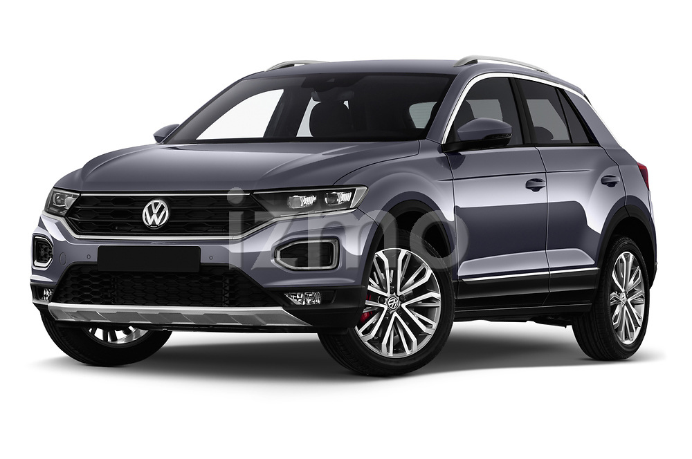 Stock pictures of low aggressive front three quarter view of a 2018 Volkswagen T-Roc Elegance 5 Door SUV