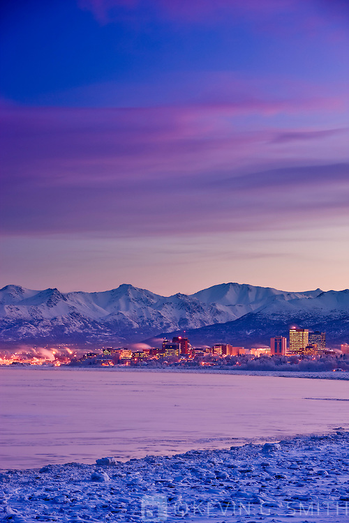 The Anchorage skyline just before dawn as seen from Earthquake park, winter, Southcentral Alaska, USA.
