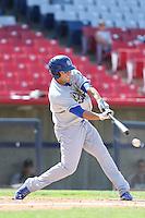 Steven Proscia #19 of the Rancho Cucamonga Quakes bats against the High Desert Mavericks at Stater Bros. Stadium on May 27, 2014 in Adelanto, California. High Desert defeated Rancho Cucamonga, 5-4. (Larry Goren/Four Seam Images)