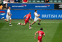 Adam Radwan (Newcastle Falcons) of England powers past Ben Lesage of Canada to score his try during the Autumn International match between England and Canada at Twickenham Stadium, London, England on 10 July 2021. Photo by Liam McAvoy.