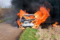 Severe fire involving an abandoned car..©shoutpictures.com..john@shoutpictures.com