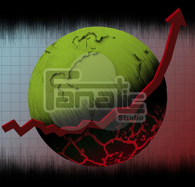 Illustrative representation showing rising danger level on earth