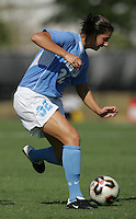 OCT 2, 2005: College Park, MD, USA:  UNC Tarheel midfielder #32 Yael Averbuch brings the ball upfield while playing the  Maryland Terrapins at Ludwig Field.  UNC won, 4-0. Mandatory Credit: Photo By Brad Smith (c) Copyright 2005 Brad Smith