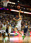 Apr 7, 2013; Notre Kayla McBride goes up to take a shot during the second half against Connecticut of the semifinals of the 2013 NCAA women's basketball Final Four at the New Orleans Arena. Connecticut defeated Notre Dame 83 to 65. Photo by Barbara Johnston/ University of Notre Dame