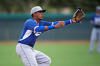 Los Angeles Dodgers Jefrey Souffront (74) during an instructional league game against the Cincinnati Reds on October 20, 2015 at Cameblack Ranch in Glendale, Arizona.  (Mike Janes/Four Seam Images)
