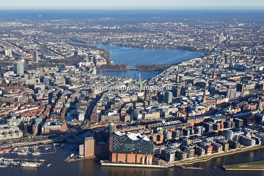 Hamburg mit Elbe und Alster: EUROPA, DEUTSCHLAND, HAMBURG, (EUROPE, GERMANY), 07.01.2018: Hamburg mit Elbe und Alster