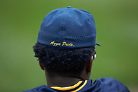 Isaiah Brewington (43) of the North Carolina A&T Aggies watches from the dugout during the game against the North Carolina Central Eagles at Durham Athletic Park on April 10, 2021 in Durham, North Carolina. (Brian Westerholt/Four Seam Images)
